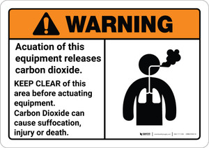 Warning: Actuation Equipment Releases Carbon Dioxide Keep Clear - Wall Sign
