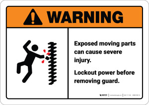 Warning: Lockout Power Before Removing Guard - Wall Sign