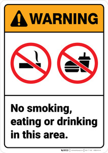 Warning: No Smoking Eating Drinking in This Area - Wall Sign