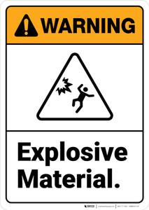 Warning: Combustible Explosive Material - Wall Sign