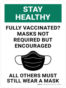 Stay Healthy: Fully Vaccinated Masks Not Required But Encouraged All Others Must Still Wear A Mask - Wall Sign