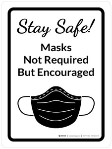 Stay Safe: Masks Not Required But Encouraged Portrait With Icon - Wall Sign