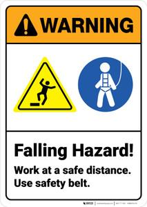 Warning: Falling Hazard Use Safety Belt - Wall Sign