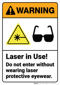 Warning: Laser Do Not Enter Without Protective Eyewear - Wall Sign