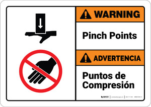 Warning: Pinch Points Bilingual Spanish - Wall Sign