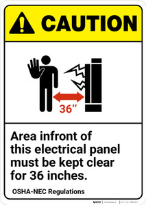Caution: Electrical Panel Area Keep Clear NEC Regulation ANSI - Wall Sign