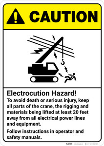 Caution: Electrocution Hazard Crane Rigging Follow Instructions ANSI - Wall Sign