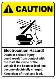 Caution: Electrocution Hazard Keep Clear Death or Injury Could Result ANSI - Wall Sign
