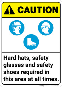 Caution: Hard Hats Safety Glasses Safety Shoes Required PPE ANSI - Wall Sign