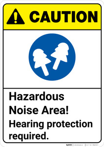 Caution: Hazardous Noise Area Hearing Protection Required ANSI - Wall Sign