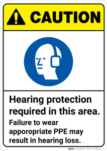 Caution: Hearing Protection Required In Area Wear PPE ANSI - Wall Sign