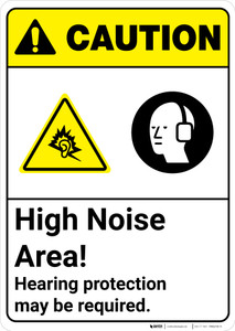 Caution: High Noise Area Hearing Protection May Be Required ANSI - Wall Sign