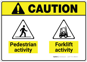 Caution: Pedestrian Activity Forklift Activity ANSI - Wall Sign