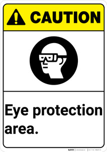 Caution: PPE Eye Protection Area With Graphic ANSI - Wall Sign