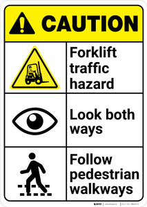 Caution: Forklift Traffic Hazard Look Both Ways Follow Walkways ANSI - Wall Sign