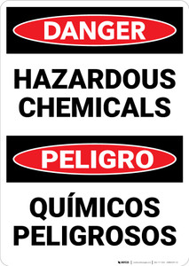 Danger: Hazardous Chemicals Bilingual Spanish - Wall Sign