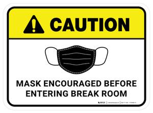 Caution: Mask Encouraged Before Entering Break Room Rectangular - Floor Sign