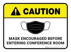 Caution: Mask Encouraged Before Entering Conference Room Rectangular - Floor Sign