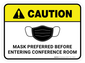 Caution: Mask Preferred Before Entering Conference Room Rectangular - Floor Sign