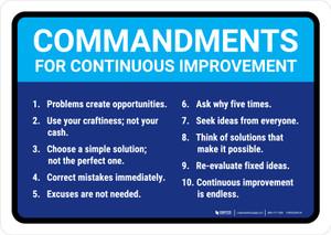 Commandments for Continuous Improvement Landscape - Wall Sign