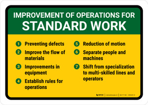Improvement for Operations for Standard Work Landscape - Wall Sign