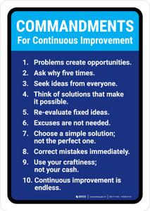 Commandments for Continuous Improvement Portrait - Wall Sign