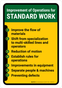 Improvement for Operations for Standard Work Portrait - Wall Sign