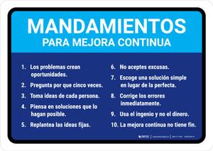 Commandments for Continuous Improvement Spanish Landscape - Wall Sign