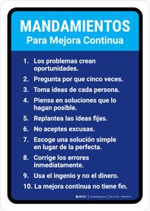 Commandments for Continuous Improvement Spanish Portrait - Wall Sign