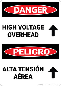 Danger: High Voltage Overhead Arrow Bilingual Spanish - Wall Sign