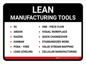 Lean Manufacturing Tools Landscape - Wall Sign