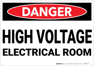 Danger: High Voltage Electrical Room - Wall Sign