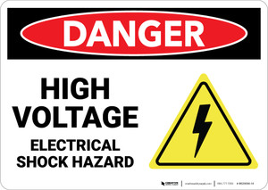 Danger: High Voltage Electrical Shock Hazard With Graphic - Wall Sign