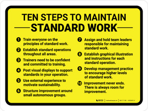 Ten Steps To Maintain Standard Work Landscape - Wall Sign