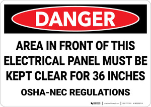 Danger: Area in Front of Electrical Panel Kept Clear NEC Regulations - Wall Sign