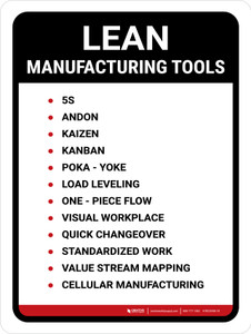 Lean Manufacturing Tools Portrait - Wall Sign