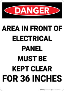 Danger: Keep Electrical Panel Clear Portrait - Wall Sign