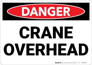 Danger: Crane Overhead - Wall Sign