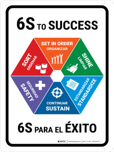 6S To Success Bilingual Portrait - Wall Sign