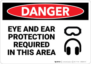 Danger: Eye and Ear Protection Required With Graphic - Wall Sign