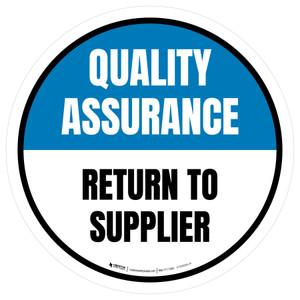 Quality Assurance: Return To Supplier Circular - Floor Sign