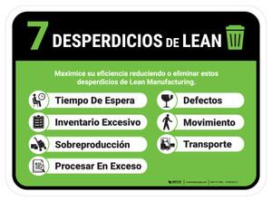 7 Wastes Of Lean Spanish Rectangular - Floor Sign
