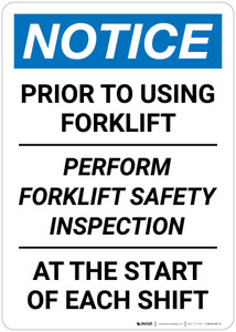 Notice: Perform Forklift Safety Inspection - Wall Sign