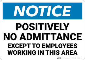 Notice: Positively No Admittance Except to Employees - Wall Sign