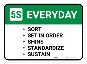 5S Everyday: Sort Set In Order Shine Rectangular - Floor Sign