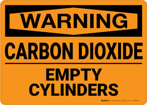 Warning: Carbon Dioxide Empty Cylinders - Wall Sign