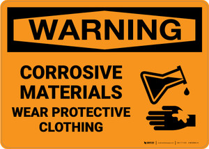 Warning: Corrosive Protective Clothing - Wall Sign