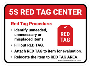 5S Red Tag Center Rectangle - Floor Sign