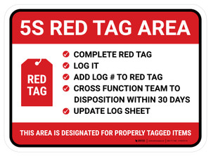 5s Red Tag - Checkmark Rectangle - Floor Sign