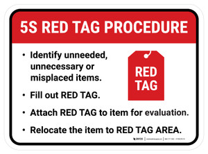 5S Red Tag Procedure Rectangle - Floor Sign